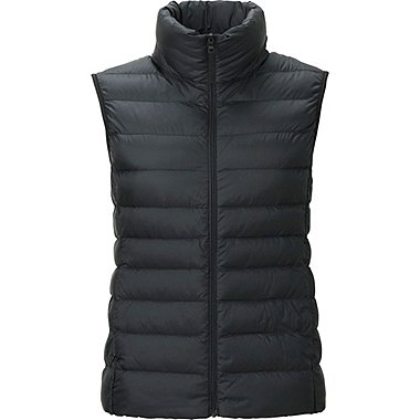 Womens Ultra Light Down Vest, BLACK, medium