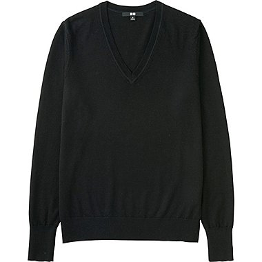 Women Extra Fine Merino Wool V-Neck Sweater, BLACK, medium