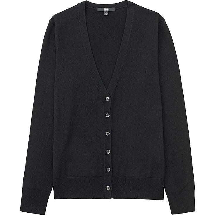 Women Extra Fine Merino Wool V-Neck Cardigan, BLACK, large