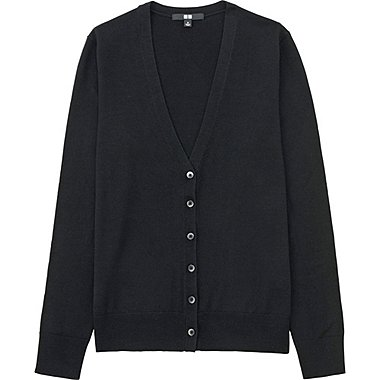 Women Extra Fine Merino Wool V-Neck Cardigan, BLACK, medium