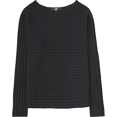 WOMEN CASHMERE BLEND BOAT NECK SWEATER, BLACK, medium