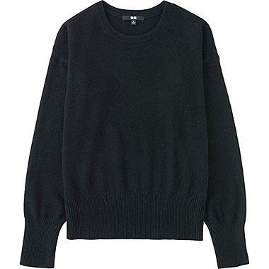 Women Cashmere Crew Neck Sweater, BLACK, medium