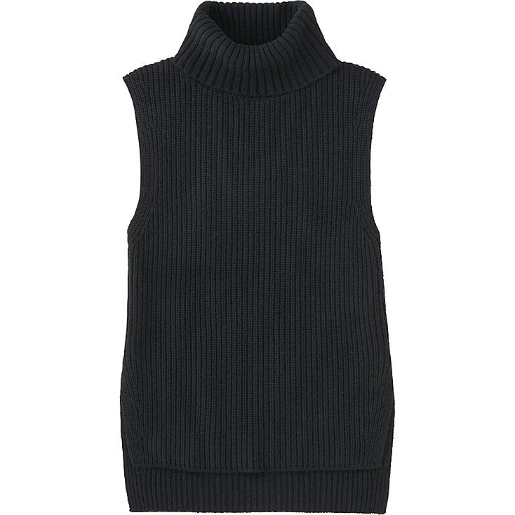 WOMEN MIDDLE GAUGE TURTLENECK LONG VEST, BLACK, large