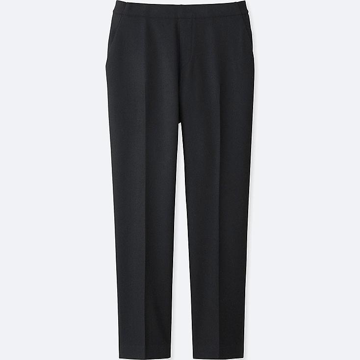 Elegant WOMEN TWEED ANKLE LENGTH PANTS GRAY Large