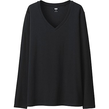 WOMEN Supima® COTTON V-NECK LONG SLEEVE T-SHIRT, BLACK, medium