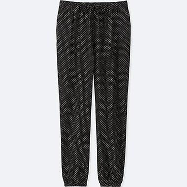 WOMEN DRAPE PANTS (DOT), BLACK, medium