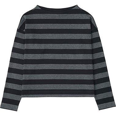 WOMEN STRIPED CROPPED MOCK NECK LONG SLEEVE T, BLACK, medium