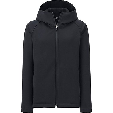 WOMEN BLOCKTECH FLEECE LONG SLEEVE FULL-ZIP HOODIE, BLACK, medium