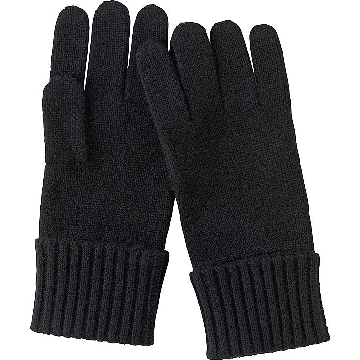 WOMEN CASHMERE GLOVES, BLACK, large