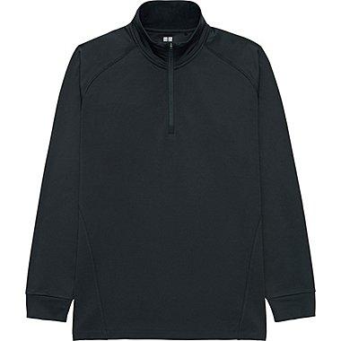 MEN WARM DRY HALF-ZIP T-SHIRT, BLACK, medium