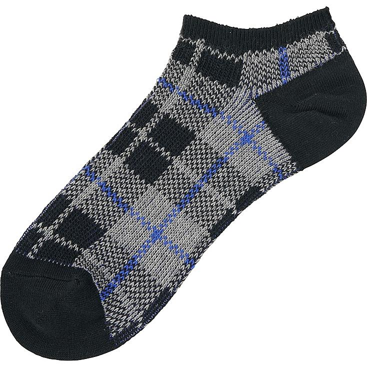 MEN CHECKED SHORT SOCKS, BLACK, large