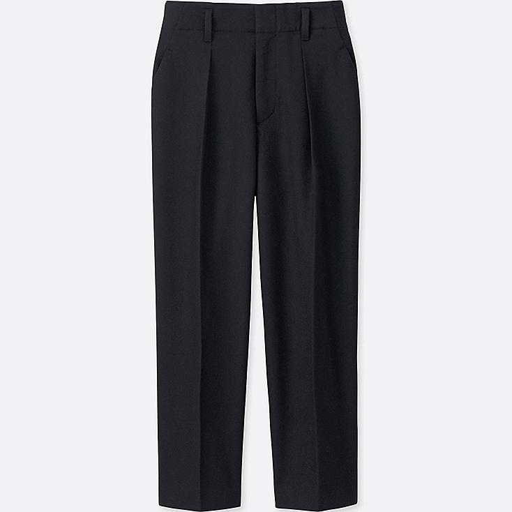 WOMEN Wool Blend Wide Leg Tapered Ankle Trousers
