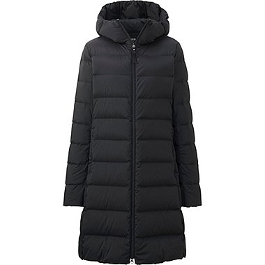 WOMEN ULTRA LIGHT DOWN STRETCH HOODED COAT, BLACK, medium