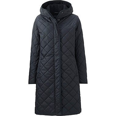 WOMEN WARM PADDED COAT, BLACK, medium