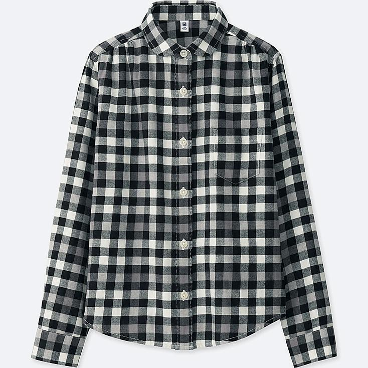 GIRLS FLANNEL CHECK LONG SLEEVE SHIRT, BLACK, large