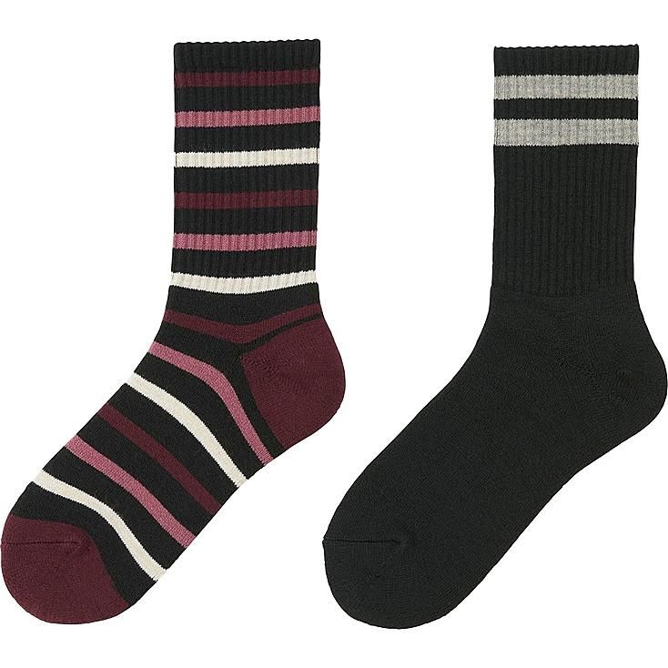 WOMEN HEATTECH SOCKS 2 PAIRS (PILE LINE), BLACK, large