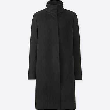 WOMEN CASHMERE BLENDED STAND COLLAR COAT, BLACK, medium