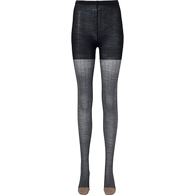 WOMEN HEATTECH KNITTED TIGHTS (HERRINGBONE), BLACK, medium