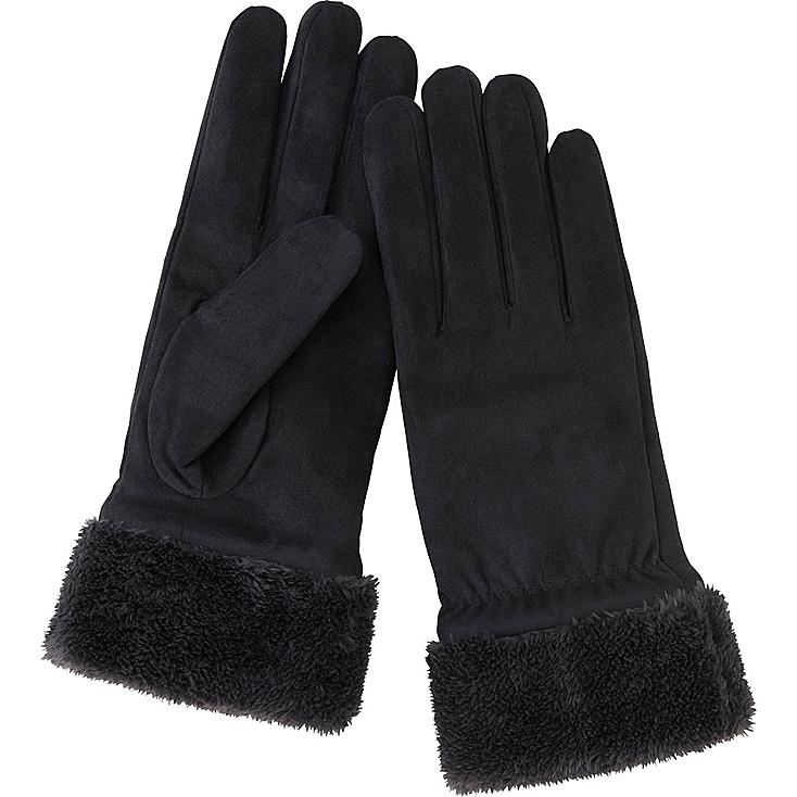 WOMEN SUEDE TOUCH GLOVES, BLACK, large