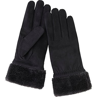 WOMEN SUEDE TOUCH GLOVES, BLACK, medium