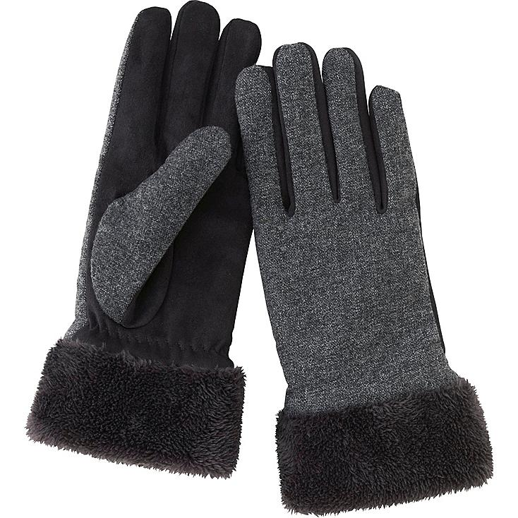 WOMEN TWEED TOUCH GLOVES, BLACK, large