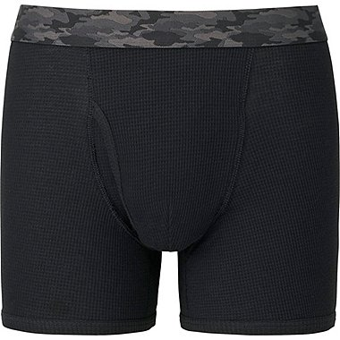 MEN Supima® COTTON WAFFLE BOXER BRIEFS, BLACK, medium