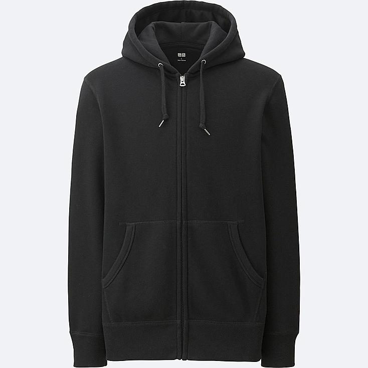 MEN LONG-SLEEVE SWEAT FULL-ZIP HOODIE, BLACK, large