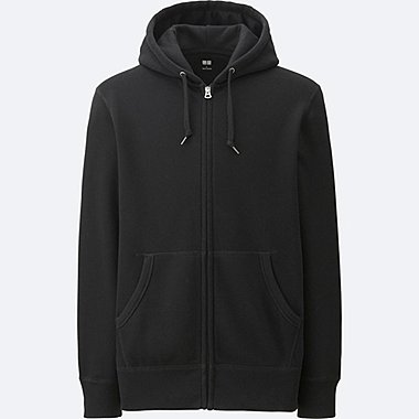 MEN LONG-SLEEVE SWEAT FULL-ZIP HOODIE, BLACK, medium