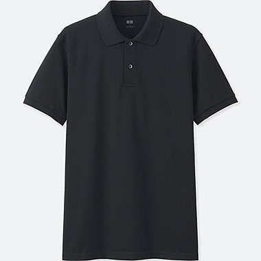 MEN DRY PIQUE SHORT SLEEVE POLO SHIRT, BLACK, medium