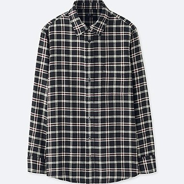 WOMEN FLANNEL CHECK LONG SLEEVE SHIRT, BLACK, medium