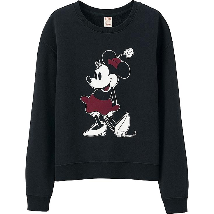 WOMEN DISNEY LONG SLEEVE SWEAT PULLOVER, BLACK, large