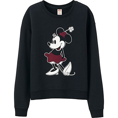 WOMEN DISNEY LONG SLEEVE SWEAT PULLOVER, BLACK, medium