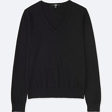 WOMEN COTTON CASHMERE V-NECK SWEATER, BLACK, medium