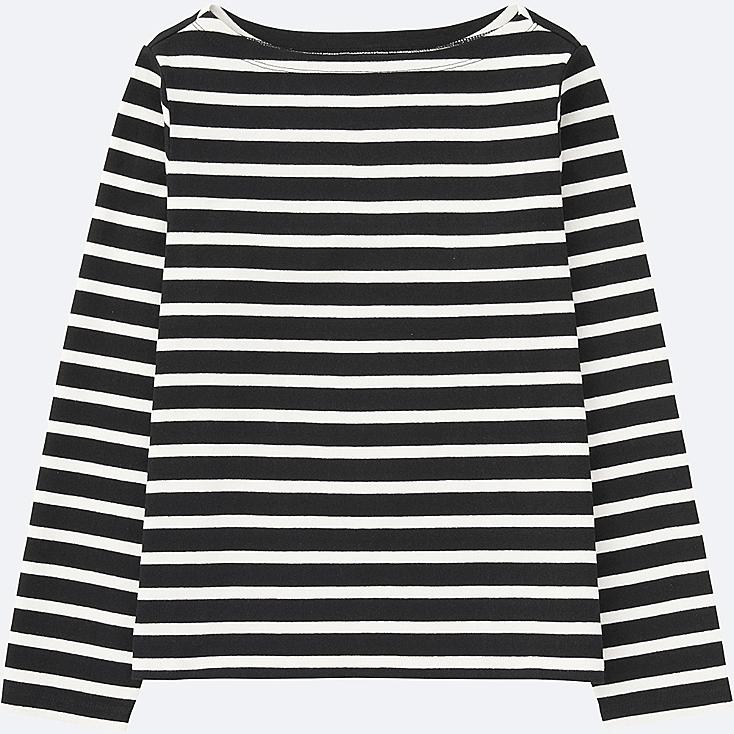 WOMEN STRIPED BOAT NECK LONG SLEEVE T-SHIRT, BLACK, large