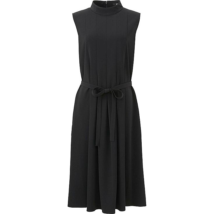 WOMEN CREPE BOX PLEATED SLEEVELESS DRESS, BLACK, large