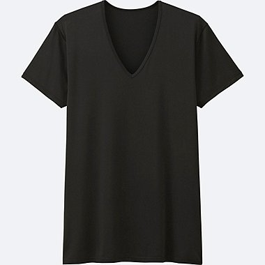 MEN AIRism V-NECK T-SHIRT (SHORT SLEEVE), BLACK, medium