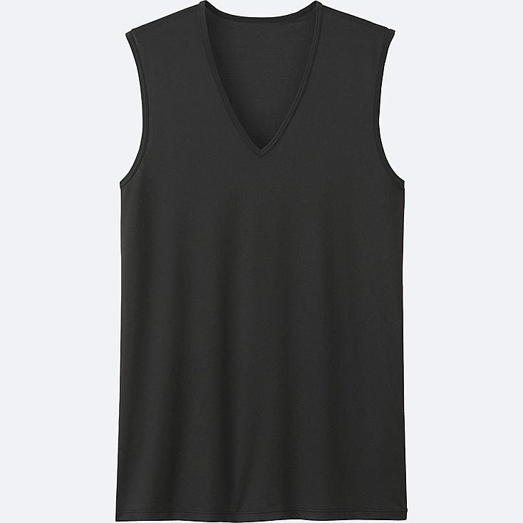 MEN AIRism MESH V-NECK T-SHIRT SLEEVELESS TOP, BLACK, large