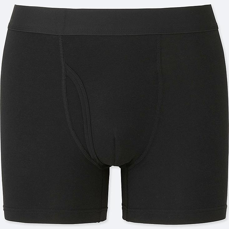 MEN Supima® COTTON BOXER BRIEFS, BLACK, large