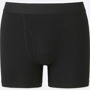 MEN SUPIMA COTTON BOXER BRIEFS, BLACK, medium