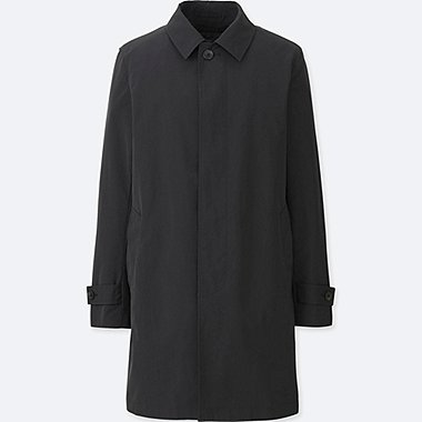 MEN CONVERTIBLE COLLAR COAT, BLACK, medium