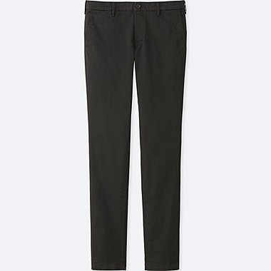 MEN ULTRA STRETCH CHINO FLAT FRONT PANTS, BLACK, medium