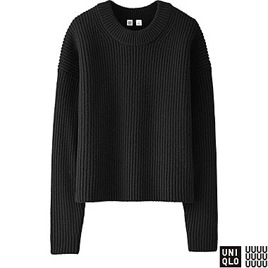 WOMEN U LAMBSWOOL CROPPED CREWNECK SWEATER, BLACK, medium