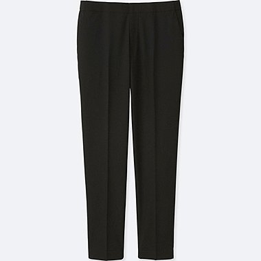 WOMEN SMART STYLE ANKLE LENGTH PANTS, BLACK, medium