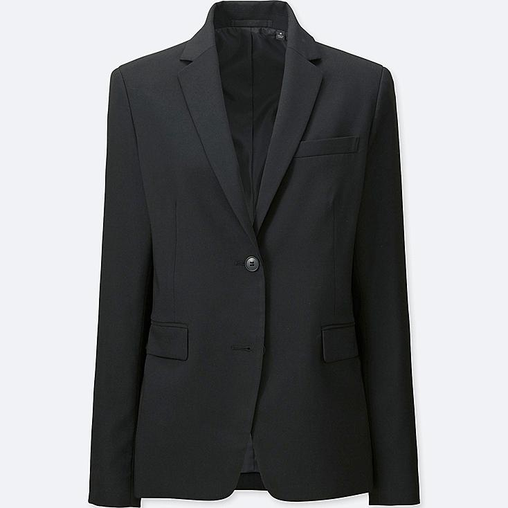 WOMEN STRETCH TAILORED JACKET (ONLINE EXCLUSIVE), BLACK, large