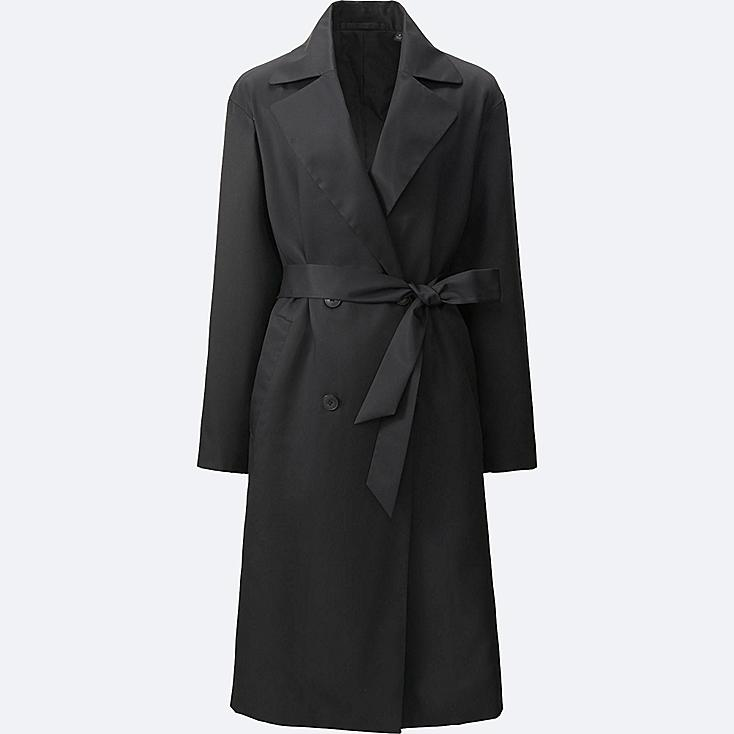 WOMEN DRAPE TRENCH COAT, BLACK, large