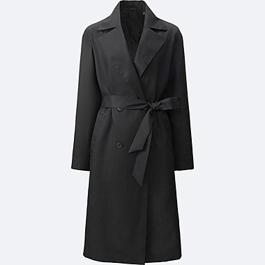 WOMEN DRAPE TRENCH COAT, BLACK, medium