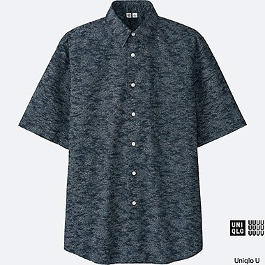 MEN U BROADCLOTH PRINTED SHORT-SLEEVE SHIRT, BLACK, medium