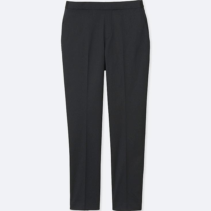 WOMEN SATIN ANKLE LENGTH PANTS, BLACK, large