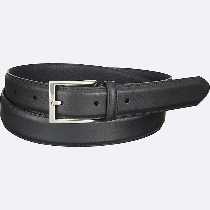 MEN ITALIAN LEATHER STITCHED BELT, BLACK, large