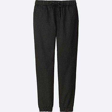 WOMEN DENIM JOGGER PANTS, BLACK, medium
